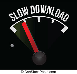 slow download speedometer illustration design over a white...