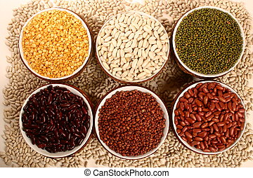 Legumes - 6 bowls of different kinds of beans