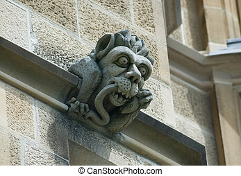 gargoyles stones on the side of the historic sydney...