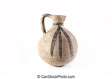 Clay pitcher - Clay old Middle Eastern jug on the white...