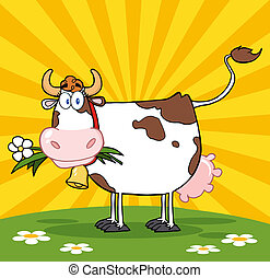 Cow With Flower In Mouth