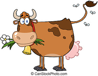 Brown Dairy Cow With Flower In Mouth