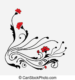 Abstract beautiful flowers creative design hand drawn...