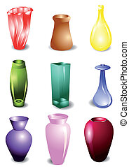set of vases isolated on white background