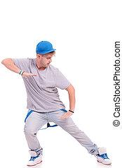 dancer posing in slide position