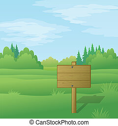 Wood sign on summer landscape - Wood sign for text on...