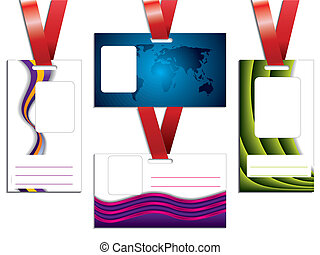Name tag set of five with red lanyard