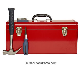 tool kit - Red tool kit and tools arrange over a white...