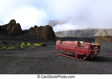 Car wreck. - Upturned car wreck in a stunning landscape,...