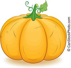Large Ornage Pumpkin. Vector Image