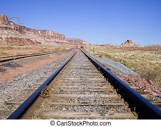 Traintracks with Red Canyon - Middle of the train tracks...