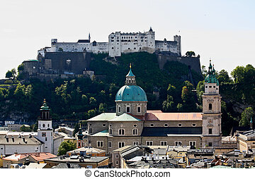The aerial view of Salzburg City, Austria