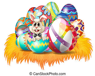 Easter eggs with an Easter bunny - Illustration of easter...