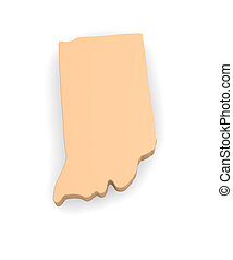 Indiana - 3d map of Indiana