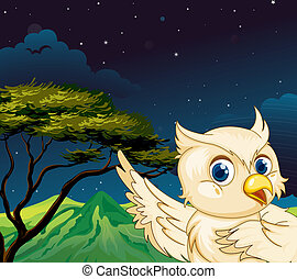 A big bird in the forest - Illustration of a big bird in the...
