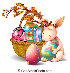 A basket full of eggs and a rabbit - Illustration of a...