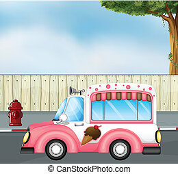 A pink ice cream bus at the road - Illustration of a pink...