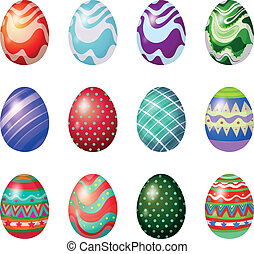 A dozen of painted easter eggs - Illustration of a dozen of...