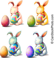 Four rabbits with easter eggs - Illustration of four rabbits...