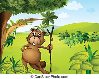 A beaver in the hills - Illustration of a beaver in the...