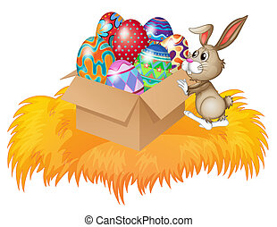 A bunny pushing a box full of easter eggs - Illustration of...