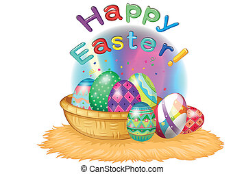 A happy easter greeting with a basket full of eggs -...