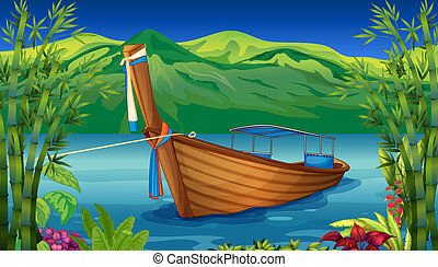 A boat near the bamboo plant - Illustration of a boat near...