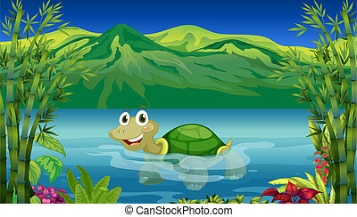 A turtle in the sea - Illustration of a turtle in the sea