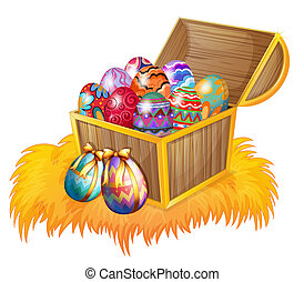 A wooden box with easter eggs - Illustration of a wooden box...