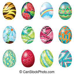 A dozen of colorful easter eggs - Illustration of a dozen of...