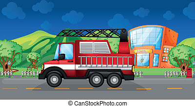 A red towing truck