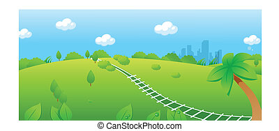 Railroad track over green landscape