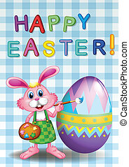 A happy easter card with a bunny and an egg - Illustration...
