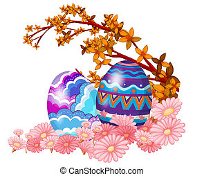 Two easter eggs hidden in the garden - Illustration of two...
