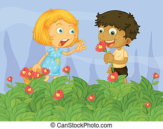Kids picking up flowers in the garden