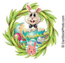 An easter design with a bunny, eggs and leafy plant -...