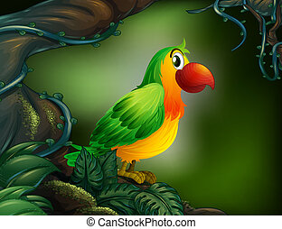 A parrot at the rain forest - Illustration of a parrot at...