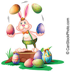A bunny juggling the easter eggs