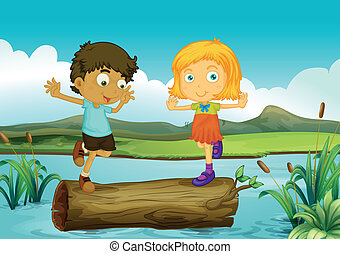 A girl and a boy above a trunk floating - Illustration of a...