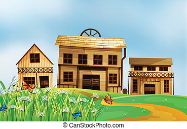 Houses in the neighborhood - Illustration of houses in the...