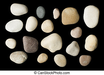 Set of sea stones black isolated Studio shot