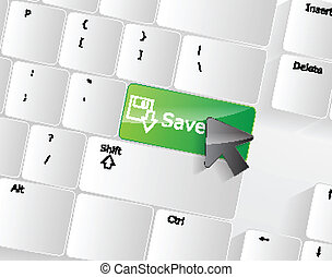 Computer keyboard - green key Save, close-up with a mouse...