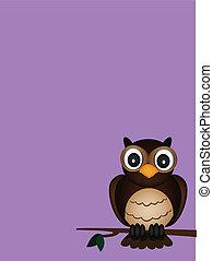 owl with purple background vector of illustration