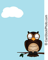 owl sleeping vector of illustration