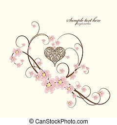 ornamental, marco, corazón, lugar, su, texto