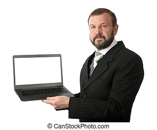 old business man with a laptop computer isolated on white...