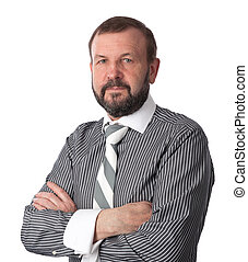 old business man isolated over white background