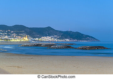 Sunset at Sitges Beach, Spain - Sunset at Sitges Beach...