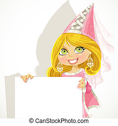 Pretty princess holding a banner