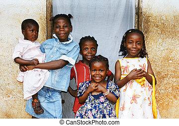 africano, crianças, tudo, Irmãs, sorrindo